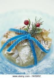 christmas dessert puff pastry glass peel blue yule tide stock