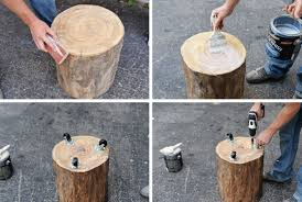 furniture diy tree stump chairs design with white cushion chairs