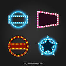 set of four neon lights signs with geometric shapes vector free