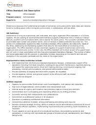 Customer Service Representative Job Description Resume by Office Assistant Job Description Resume Resume For Your Job