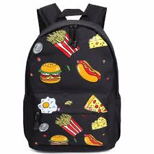 travel packs images Women men graffiti backpack printing cartoon food hamburg chips jpg
