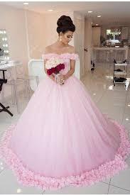 pink wedding dresses gown shoulder pink wedding dresses pink quinceanera