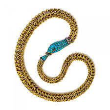 antique gold necklace images Antique gold and turquoise ouroboros snake necklace JPG