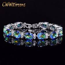 color stone bracelet images Cwwzircons brand beautiful round oval mystical blue rainbow color jpeg