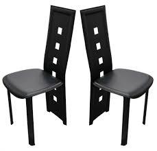 dossier de chaise 4 chaises design calzone pvc haute qualite noir chaise topkoo
