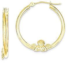 ear hoops carats 10k yellow gold angel hoop earrings ear hoops set for