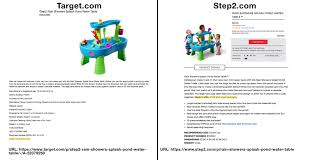 step 2 rain showers splash pond water table target made in the usa error data truth in advertising