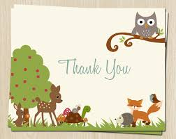 woodland thank you cards baby shower birthday owl turtle fox