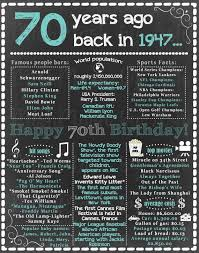 1947 Birthday For Him 70th Birthday Sign Back in 1947 Happy