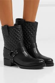 leather biker boots valentino stylish rockstud spike quilted leather biker boots