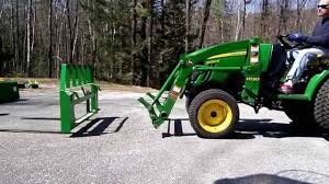 john deere 2032r swapping pallet forks to bucket and back youtube