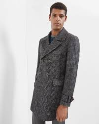 checked double breasted coat charcoal outlet ted baker uk