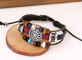 leather bracelet fashion images Leather and rope bracelet with beads and tibetan charm jpg