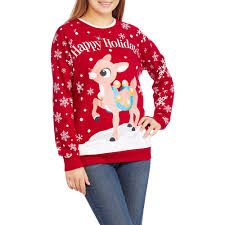 Christmas Deer Decorations Walmart by Rudolph Juniors Ugly Christmas Pullover Walmart Com