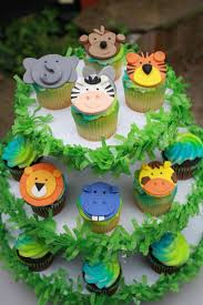 safari cake toppers fondant jungle animal cupcake toppers by clementinescupcakes