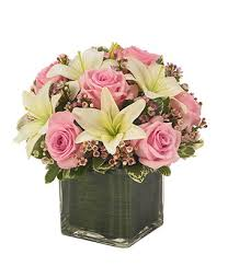 Roses And Lilies Pink Rose U0026 Lily Cube Bouquet At From You Flowers
