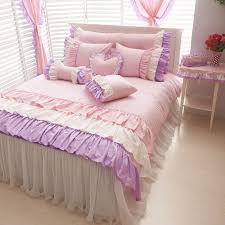 Purple Ruffle Comforter Purple Pink White Girls Ruffle Full Queen Size Duvet Cover Bedding