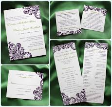 sided wedding programs purple swirl with green accents damask wedding invitations