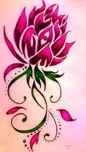 pink ink tribal lotus flower tattoo design