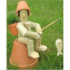 wooden garden flowerpot fishing fisherman flowerpot