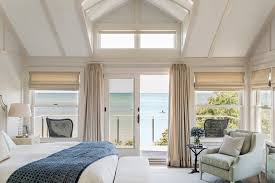 Dormer Window With Balcony Curtains For French Doors Trend Boston Beach Style Bedroom