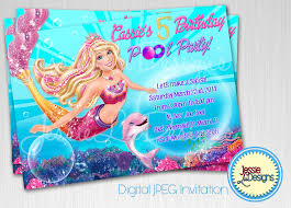 how to make pool party invitations barbie mermaid custom digital birthday pool party invitation by