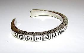 silver cuff bracelet with images Navajo sterling silver cuff bracelet with heavy hand etched tribal jpg
