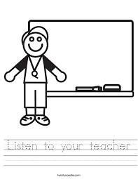 listen to your teacher worksheet twisty noodle