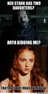 Memes About Daughters - rmx ned stark has two daughters by ben meme center