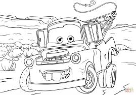 cartoon car black and white tow mater from cars 3 coloring page free printable coloring pages