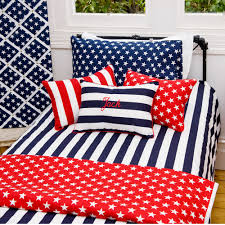 Red White Flag With Blue Star Red Stars And Stripes Duvet Dooner Quilt Cover And Pillow Set