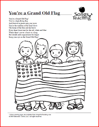 you u0027re a grand old flag free printable coloring page from songs