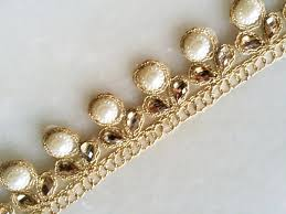 gold trim pearl and kundan work payal border bohemian finding gold trim pearl and kundan work payal border bohemian finding trims dress decor ethnic fringe trim beaded lace trim by the yard