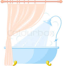 Curtain In Bathroom Vector Cartoon Illustration Of Shower Tray And A Curtain In