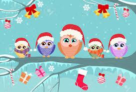 christmas owl sitting on tree branch decoration gift box winter