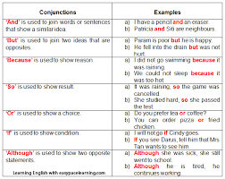 conjunctions learning how to use conjunctions english grammar