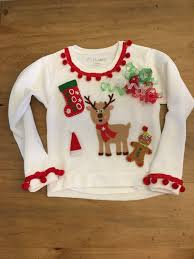 kids youth ugly christmas sweater girls size medium 7 8 merry
