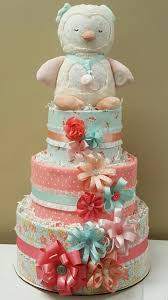 coral and robin egg blue owl baby diaper cake baby shower
