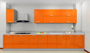 Light Orange Color by Amazing L Shape Kitchen Come With Orange Color Gloss Kitchen