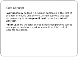 average cost of food food and beverage cost control