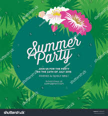 Party Invitation Card Summer Party Invitation Card Green Leaves Stock Vector 269852987