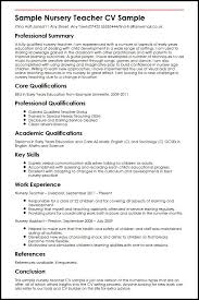 Transferable Skills Resume Sample by Sample Nursery Teacher Cv Sample Myperfectcv