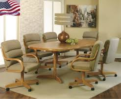 Dining Chairs With Casters Attractive Dining Room Table And Chairs With Wheels With Modest