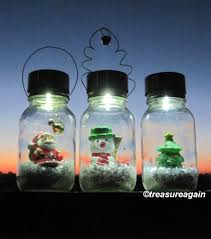 solar mason jar snow globe light santa christmas lights holiday