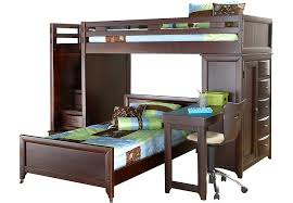 league cherry step loft bunk with chest and desk