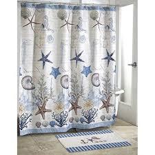 kids blue grey sea life beach themed shower curtain ocean blue