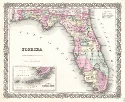 Map Of The Florida Keys by File 1855 Colton Map Of Florida Geographicus Florida Colton