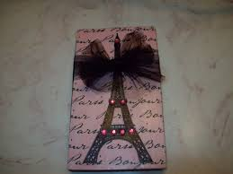 shabby paris chic decor pink black eiffel tower block sign shelf