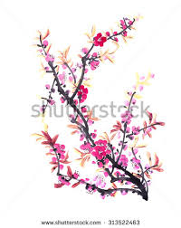 chinese painting flowers peach blossom on stock illustration