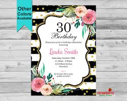 30th birthday invitation for women black u0026 white invite floral